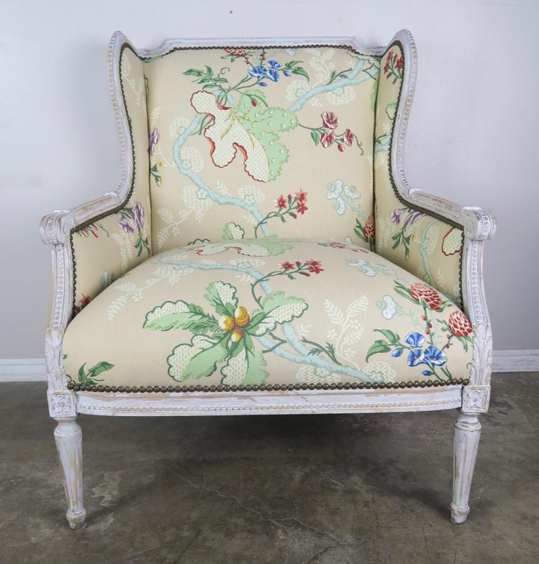 Wood French Painted Brunschwig & Fils Upholstered Wingback Armchairs For Sale