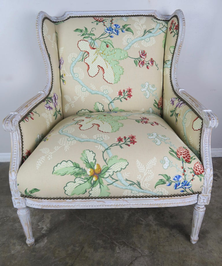French Painted Brunschwig & Fils Upholstered Wingback Armchairs For Sale 1