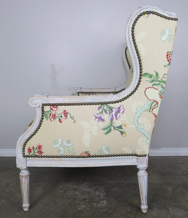 French Painted Brunschwig & Fils Upholstered Wingback Armchairs For Sale 2