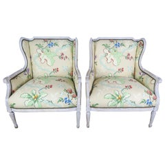 French Painted Brunschwig & Fils Upholstered Wingback Armchairs