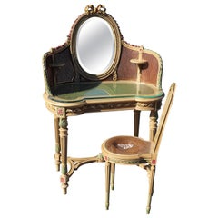 French Painted Floral Carved Cane Mirrored Ladies Vanity and Chair