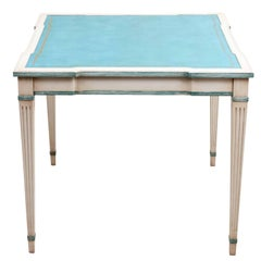 French Painted Game Table with Aqua Blue Tooled Leather Top
