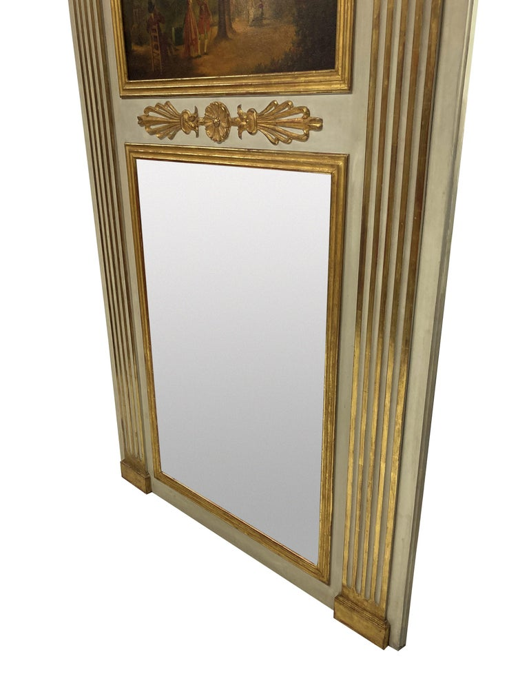 Mid-20th Century French Painted & Gilded Trumeau Mirror with Painted Panel
