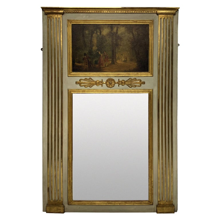 French Painted & Gilded Trumeau Mirror with Painted Panel