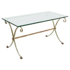 French Painted and Gilt Wrought Iron Base Table with Glass Top, circa 1940