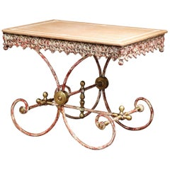 French Painted Iron and Brass Pastry Table with Red Marble Top