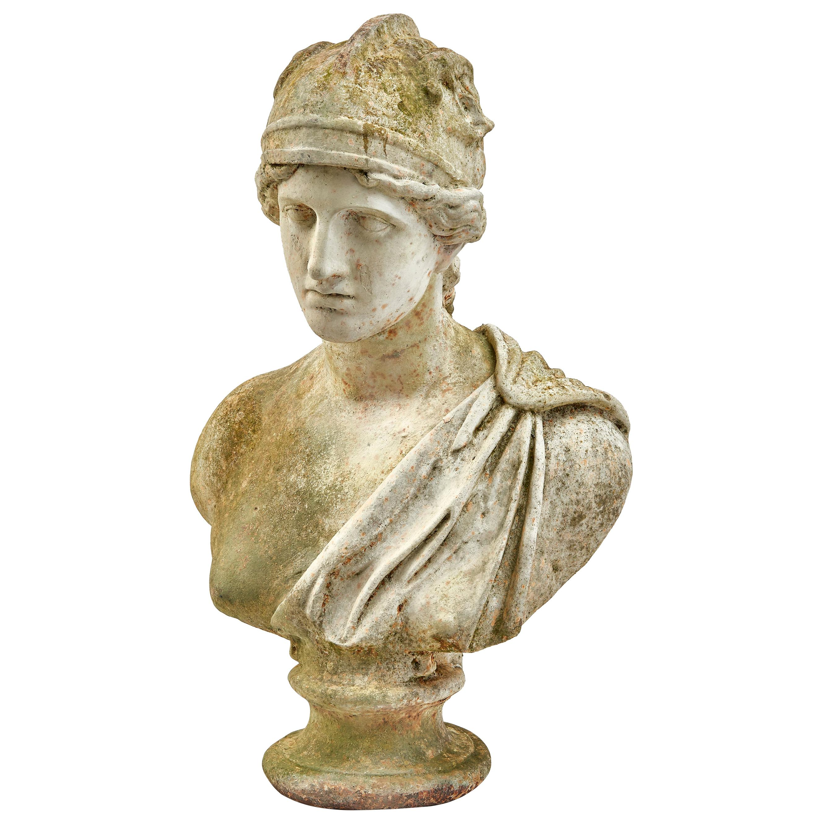 French Painted Iron Bust of the Goddess Minerva, circa 1890