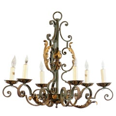 French Painted Iron Gilt 6-Light Chandelier, 20th Century