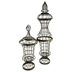 French Painted Iron Jardinière Garden Topiary Planters w/ Trellis Tops 4 Pc. Set