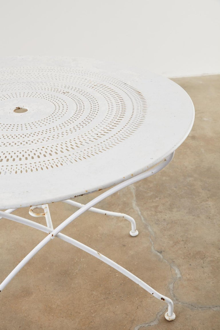 French Painted Iron Round Folding Garden Dining Tables For Sale 5