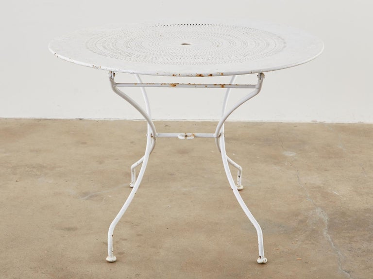 20th Century French Painted Iron Round Folding Garden Dining Tables For Sale