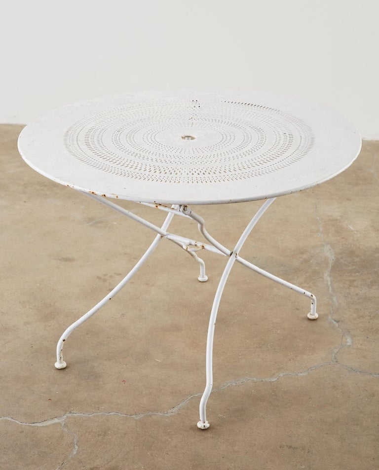 French Painted Iron Round Folding Garden Dining Tables For Sale 1