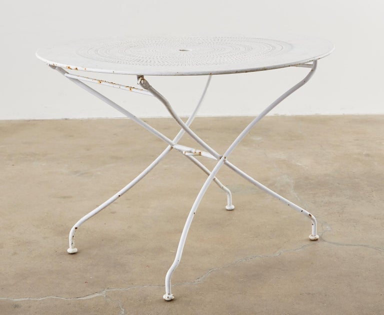 French Painted Iron Round Folding Garden Dining Tables For Sale 2