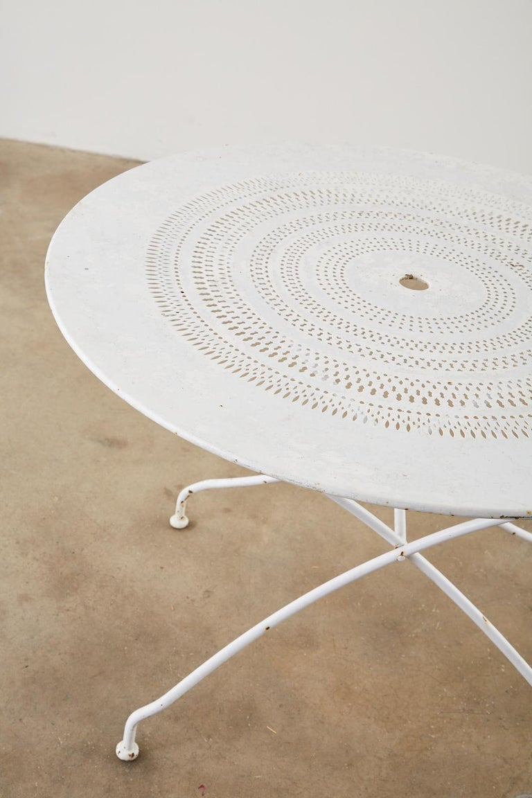 French Painted Iron Round Folding Garden Dining Tables For Sale 4