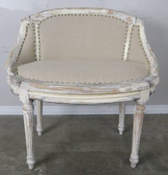 French Painted Linen Bench, circa 1930s