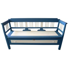 French Painted Long Bench with 2 Side Arms, High Back and a Long Deep Drawer