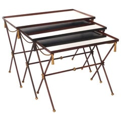 French Painted Mirrored Nesting Tables