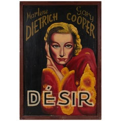 "French Painted Movie Poster ""Desire"" 1936 Marlene Dietrich and Gary Cooper"