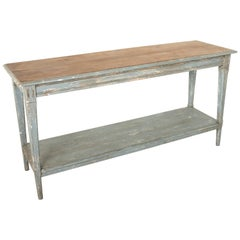 French Painted Oak Draper's Table, Console Table, or Kitchen Island, circa 1900