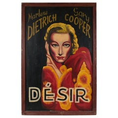"French Painted on Board Movie Poster ""Desire"" 1936 Marlene Dietrich Gary Cooper"