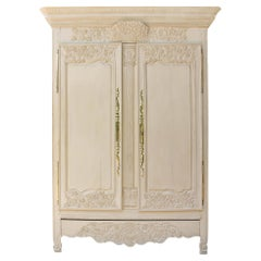 French Painted Patinated Oak Armoire Carved Floral Patterns, 19th Century