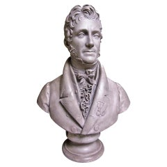 French Painted Plaster Bust of Pierre Balguerie