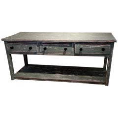 French Painted Pot Board Shelf Dresser Base, 1890