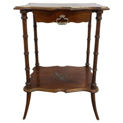 French Painted Side Table Faux Bamboo One-Drawer, Late 19th Century