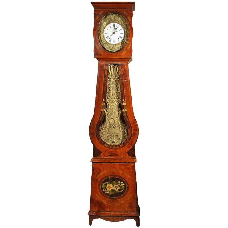 French Painted Tall Case Morbier Clock