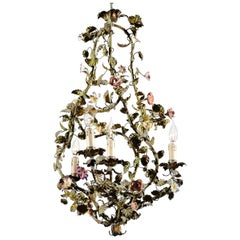 French Painted Tôle Bell-Shaped Four-Light Chandelier with Porcelain Flowers