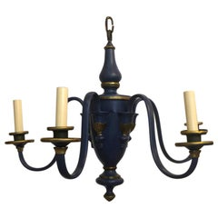 French Painted Tole Blue Chandelier