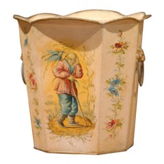 French Painted Tole Trash Can, circa 1890-1920