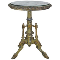 French Painted Tripod Table with Mirrored Top
