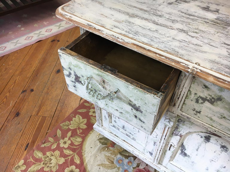 Late 19th Century French Painted Two-Drawer, Two-Door Base For Sale