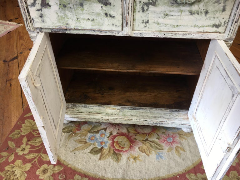 Wood French Painted Two-Drawer, Two-Door Base For Sale
