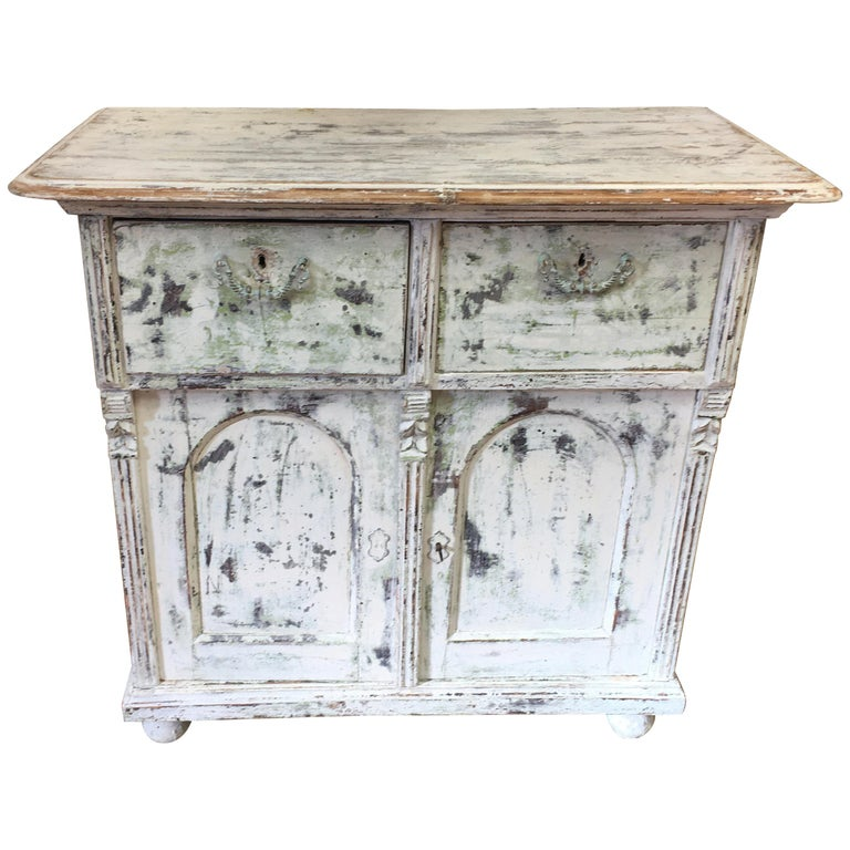 French Painted Two-Drawer, Two-Door Base For Sale