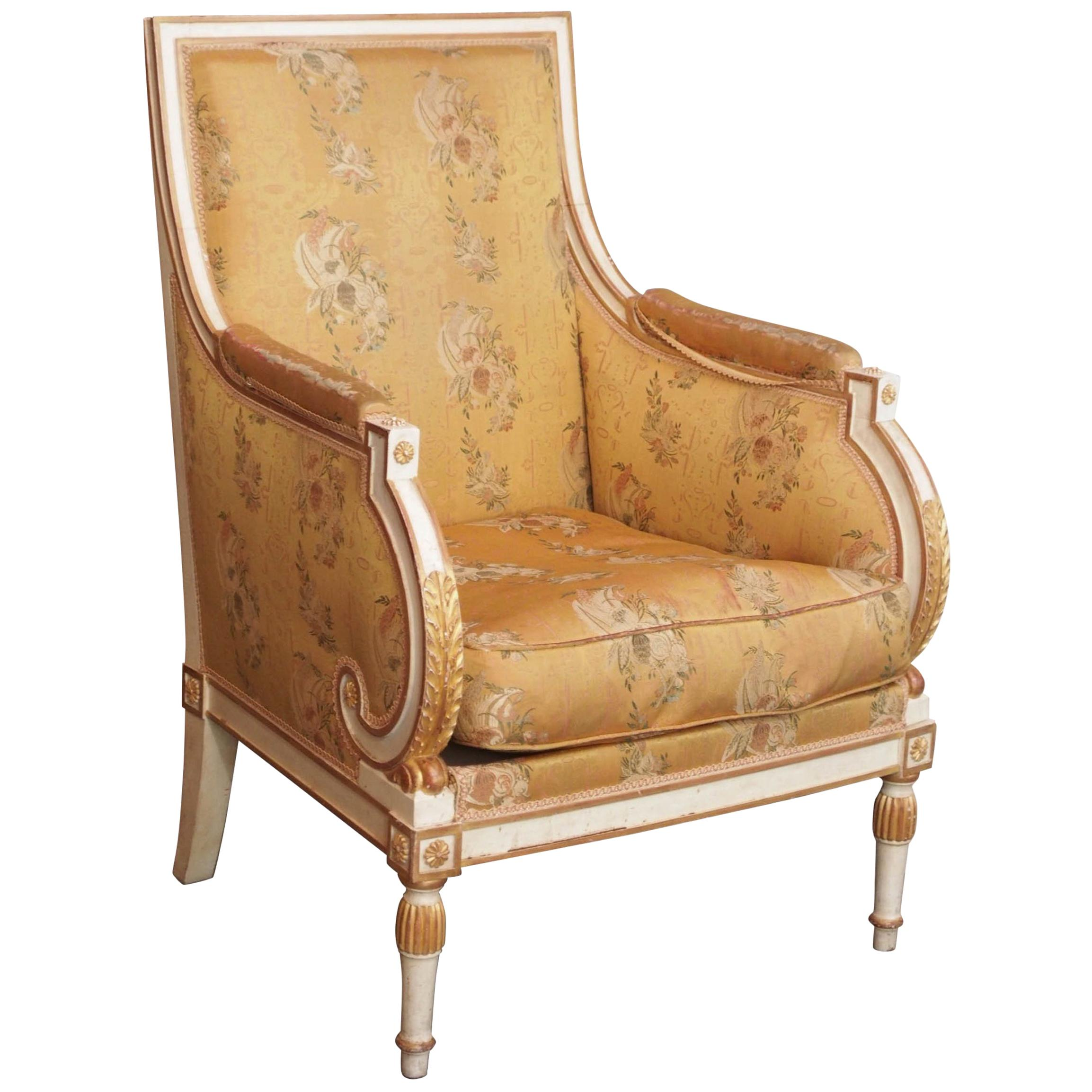 French Painted Upholstered Louis XVI Style Chair, circa 1920
