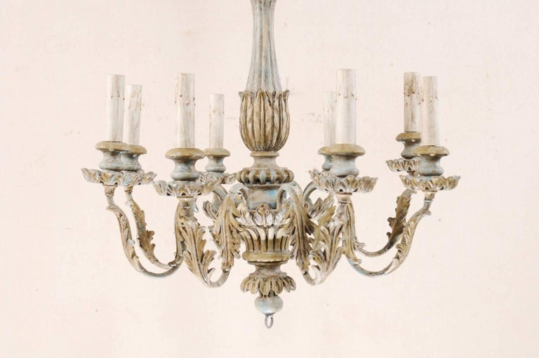 French Painted Wood and Metal Nicely Carved Chandelier with Acanthus Leaf Decor For Sale 6