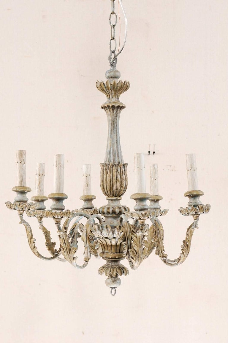 French Painted Wood and Metal Nicely Carved Chandelier with Acanthus Leaf Decor In Good Condition For Sale In Atlanta, GA