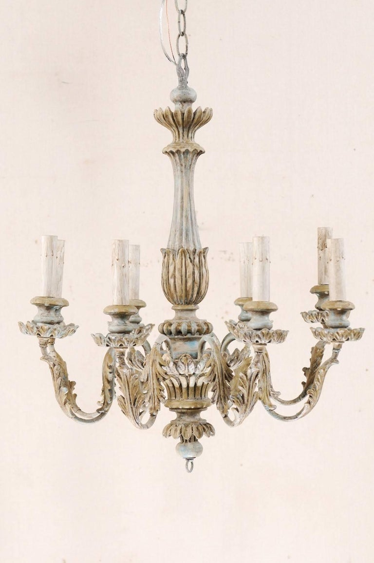 French Painted Wood and Metal Nicely Carved Chandelier with Acanthus Leaf Decor For Sale 1