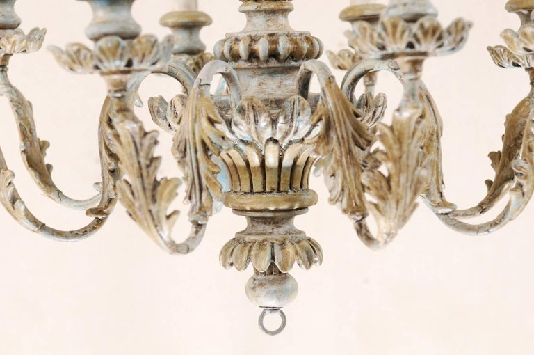 French Painted Wood and Metal Nicely Carved Chandelier with Acanthus Leaf Decor For Sale 3