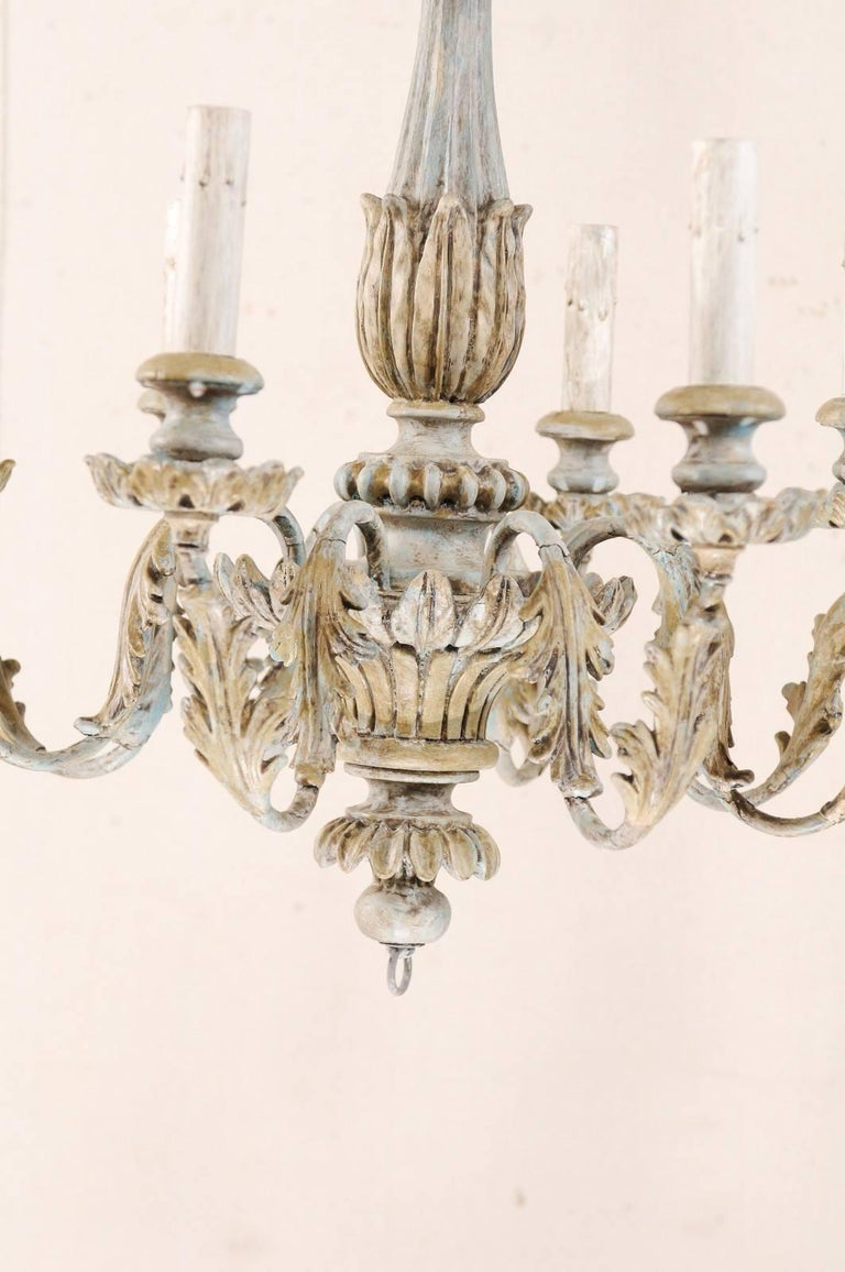 French Painted Wood and Metal Nicely Carved Chandelier with Acanthus Leaf Decor For Sale 4