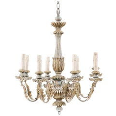 French Painted Wood and Metal Nicely Carved Chandelier with Acanthus Leaf Decor