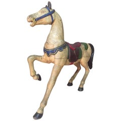 French Painted Wooden Carousel Horse Signed, Early 20th Century