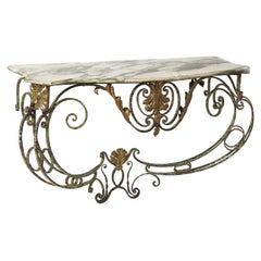 French Painted Wrought Iron and Marble Console, circa 1890