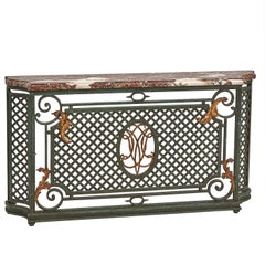 French Painted Wrought Iron and Marble Radiator Cover, circa 1930