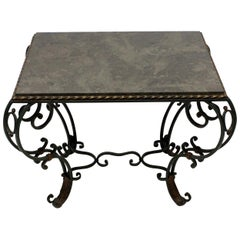 French Painted Wrought Iron Occasional Table with Marble Top