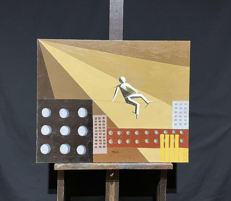 CONTEMPORARY FRENCH CUBIST ABSTRACT - GEOMETRIC COMPOSITION - TIGHTROPE WALKER - Painting by French painter