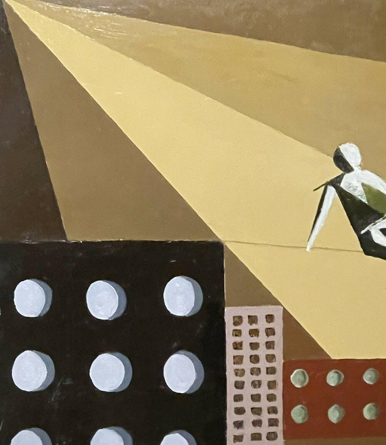 CONTEMPORARY FRENCH CUBIST ABSTRACT - GEOMETRIC COMPOSITION - TIGHTROPE WALKER - Abstract Geometric Painting by French painter