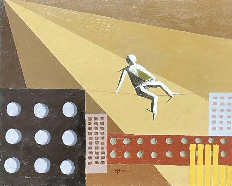 French painter Abstract Painting - CONTEMPORARY FRENCH CUBIST ABSTRACT - GEOMETRIC COMPOSITION - TIGHTROPE WALKER